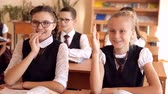 школьница : two schoolgirls in uniform at her desk. one pulls the other hand answers the question Стоковые видеозаписи