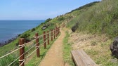 jeju island : Walking on Olle trail No.19 in Hamdeok Seoubong peak. The peak is a kind of cape and located near the Hamdeaok baech. The course starts at Jocheon manse Dongsan and ends at Gimnyeong Seo-pogu port.