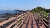 basalto : Jongdalri coast trail in Jeju island, Korea. The trail is famous for beautiful scenery. The walkway there is an observation platform made of an old ship and you can see Udo island there. Stock Footage