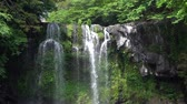 kaluž : Cheonjeyeon 2nd waterfall. Cheonjeyeon is a three-tier waterfall, which is one of the most famous falls in Jeju island, Korea. The forest around the falls was designated as a Natural Monument No.378.