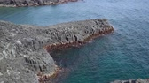 pilares : Daepo Jusangjeolli at Jungmun in Jeju, Korea. Jusangjeolli is a cliff made of basaltic columnar jointings at Jisatgae coast and one of the most famous attractions in Jeju. Stock Footage