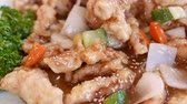 pimentão : Closeup of Sweet and Sour pork of Chinese restaurant in Korea. It is called Tangsuyuk in Korean.