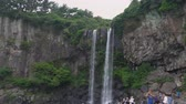 jeju island : Jeju, Korea - May 24, 2017: Jeongbang Falls, one of the most famous waterfalls on Jeju Island. The waterfall is 23m high and is an unique waterfall that falls directly into the sea. Stock Footage