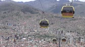 funicular : BOLIVIA, LA PAZ, 12 FEBRUARY 2017 - La Paz aerial view with Teleferico Cable car transit system Stock Footage
