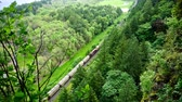 trilho : View from above of a train passing below in the Columbia River Gorge in Oregon