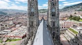 Латинской Америки : Time lapse video of the Basilica in Quito, Ecuador with the camera panning up Стоковые видеозаписи