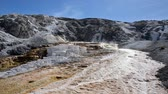 бактерии : Jupiter Terrace and blue sky at Mammoth Hot Springs in Yellowstone National Park Стоковые видеозаписи