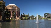 SAN FRANCISCO - SEPTEMBER 21: View of the Palace of Fine Arts in San Francisco on September 21, 2015 with the camera panning to the right. Stock Footage