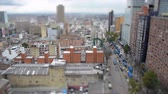 Tilt shift view of Bogota, Colombia and heavy traffic