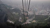 View of cable car descending from Monserrate Mountain to Bogota, Colombia