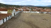Aerial view of Villa de Leyva, Colombia with the camera rotating to the right