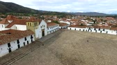 Aerial video of Villa de Leyva, Colombia with the camera panning to the left