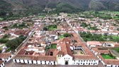 Aerial view of the church and plaza in Villa de Leyva, Colombia