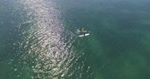 canoe : Sea kayak in the open water Stock Footage