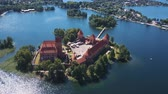 palácio : Lithuania. Trakai. Beautiful castle on the lakes. Aerial view of Trakai castle in summer season.