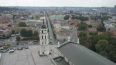 AERIAL view of Bell tower in Vilnius, Lithuania. Flight around Varpines bokstas. Wideo