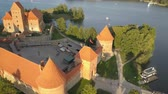 gotic : Aerial view of Trakai castle in summer season. Beautiful castle on the lakes in Lithuania.