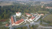 herenhuis : Aerial view of medieval Palace in Western Europe, Wojanow, Poland