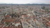 gotic : vienna city skyline aerial shot. AERIAL view of Vienna. Cathedrals and cityscape City of Vienna, Austria Stockvideo