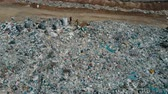 Aerial view of City garbage Dump. Gulls Feeding on Food Waste Fly Over It. Wideo
