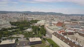 Vienna city skyline aerial shot. AERIAL view of Vienna. Cathedrals and cityscape City of Vienna, Austria