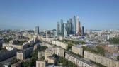 Moscow City skyscrapers, aerial view. Office business center of moscow city. Towers of Moscow City. Wideo