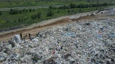 Aerial view of City garbage Dump. Gulls Feeding on Food Waste. Large garbage pile at sorting site. Wideo