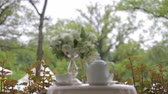 waterglas : Hot tea in white cups and white teapot served outdoors on a white table decorated with a bouquet of flowers. Focus panorama. Stockvideo