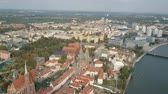 Aerial view of Cathedral Island in Wroclaw, Poland
