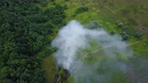 billow : Aerial footage from drone of burning green field, wild fire in nature landscape, Flight through a smoke