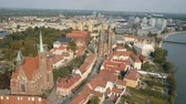 gotic : Aerial dynamic footage of Wroclaw, : Cathedral Island in Wroclaw, Poland. Market Square, Sky Tower, st. Elisabeth Church, City panoramic view. Traveling EU.
