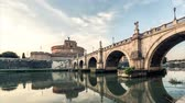 Rome timelapse sunset. Day to night cityscape Castle and bridge panorama Wideo