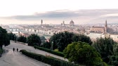 Florence cityscape Time Lapse. Panoramic view at sunset. Day to night.