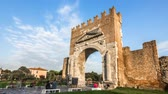RIMINI, ITAL- september 23, 2012: Timelapse day to night of the Ancient Arch of Augustus. This is the oldest Roman arch Which survives. Wideo