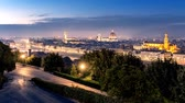 Florence cityscape timelapse at sunset. Day to night scenic landscape in 4K
