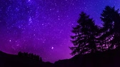 Time Lapse purple night sky stars over mountain and tree silhouette. 4K