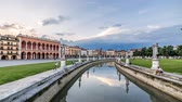 Padua, Italy - june 18, 2014: Padua, Prato della Valle square, cityscape timelapse at sunset. day to night