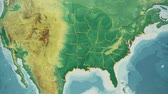 cartography : USA Map, Alabama pull out, all 50 states available. Transition from natural colors to a vintage look. The states' borders glow and flicker. No names or letters, so you can insert own graphics and fonts. For news, documentaries, info, elections, etc. Stock Footage