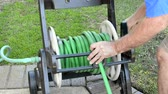 kordé : A man working in his yard finishes up his watering duties and rolls up the garden hose into the storage