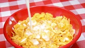nabiał : Pouring milk into a bowl of processed cornflake cereal during breakfast