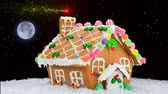 fantezi : A gingerbread house during a snowy Christmas shows a festive shooting star off in the distance forming a red and gold holiday sparkle trail