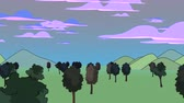 szkic : A panning animated cartoon of trees in a green field highlighted by an orange sunset. Wideo