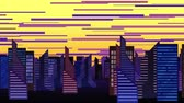 fantezi : An animated cartoon of a city pan showing cluttered tall buildings Stok Video