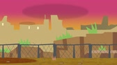 szkic : Animated cartoon of an old run down city in front of a fenced off border during sunset slowly pan in to show a cityscape of ruin.