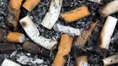 não higiênico : A slow video pan over an ashtray full of cigarette butts and tobacco ash shows the byproduct of smoking