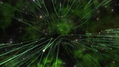 dimensional : A series of complex green lines are using logic to form complex connectivity framed against a green galaxy in outer space.