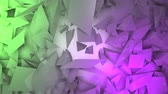 empilhados : Three-dimensional random reflective block shapes toned in subtle green and pink pastel colors. Good for a background design element, computer wallpaper or screen saver. Stock Footage