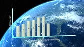 infográfico : Bar chart forming average global temperature with a rotating planet in the background. Stock Footage