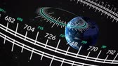 измерительный : An animated circular gauge rotates while navigating through space towards earth.