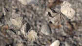 grey : Slow Motion Big Pile Of Rocks Falling Down Wideo